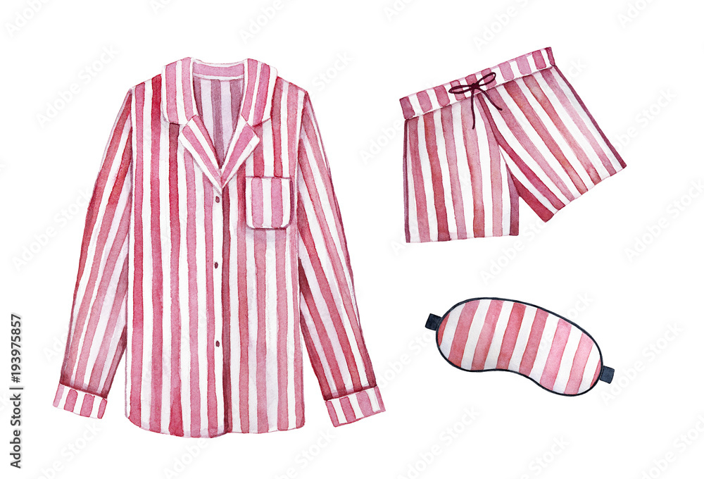 Fototapety, obrazy: Pajamas sleeping outfit kit. Classic textile stripes, cherry color. Good morning, sleepy dress, stay in bed illustration. Hand drawn watercolour graphic drawing on white background, cut out clipart.