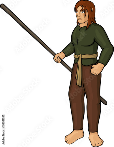 Fotografie, Obraz Cartoon half elf villager with staff on white background