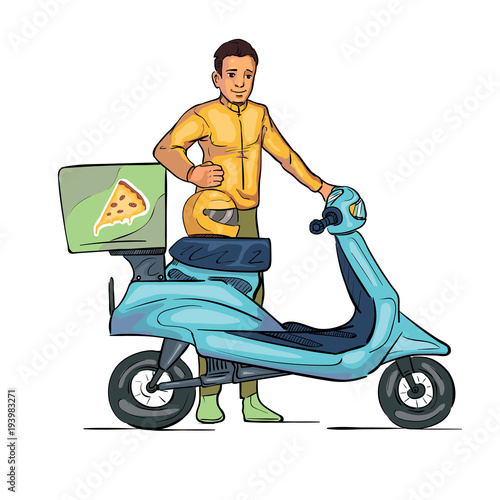Poster Motorcycle motorcycle delivery man
