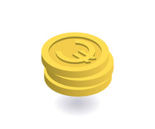 Euro Icon. Pile Of Gold Coins ...