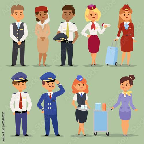 Officers flight pilots flight attendants vector people Wallpaper Mural