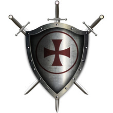 Medieval Shield With Red Cross...
