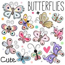 Set Of Cute Cartoon Butterflies