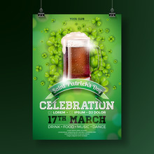 Saint Patrick's Day Party Flyer Illustration With Fresh Dark Beer And Clover On Green Background. Vector Irish Lucky Holiday Design For Celebration Poster, Banner Or Invitation.