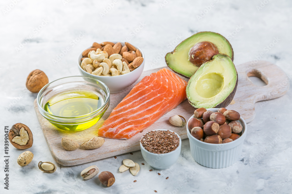 Fototapety, obrazy: Selection of good fat sources - healthy eating concept. Ketogenic diet concept