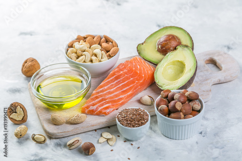 Fotografija Selection of good fat sources - healthy eating concept