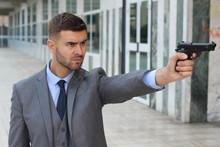 Elegant Angry Man Holding Gun