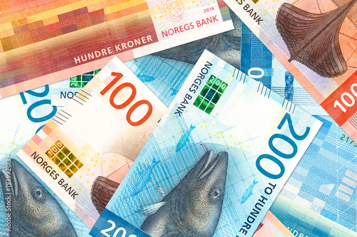 some new 100 and 200 norwegian krone bank note obverse Canvas Print