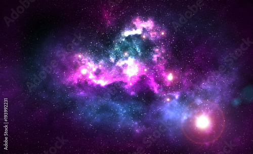 Poster Universe Cosmic Galaxy Background with nebula, stardust and bright shining stars