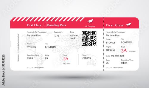 Boarding Pass Ticket Vector First Class Boarding Pass Design