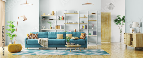 Obraz Interior of modern living room panorama 3d rendering - fototapety do salonu