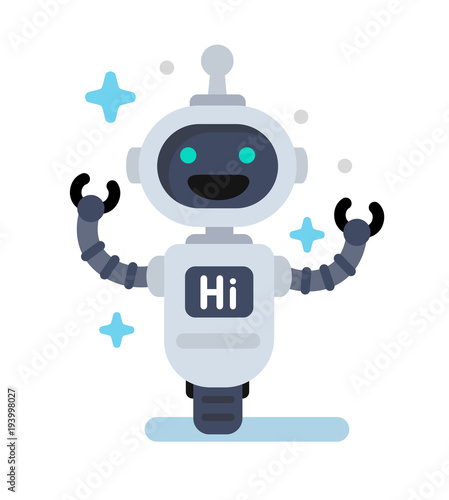 Photo Funny vector robot in flat
