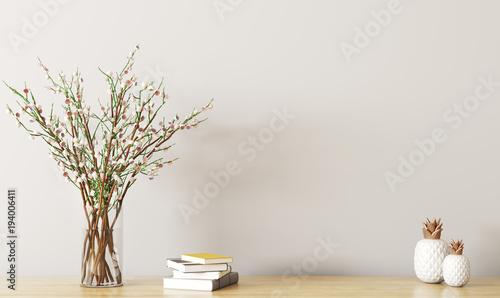 Fotografía  Shelf with flower branch 3d rendering