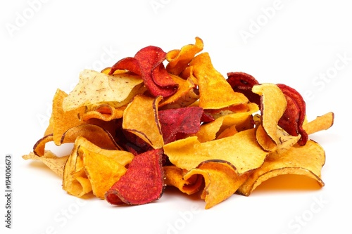 Fotografía  Pile of mixed healthy vegetable chips