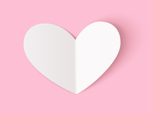 Empty White Paper Heart With R...