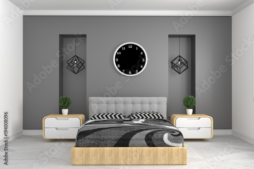 Photo  Modern gray bedroom interior with clock lamp and plants on cabinets