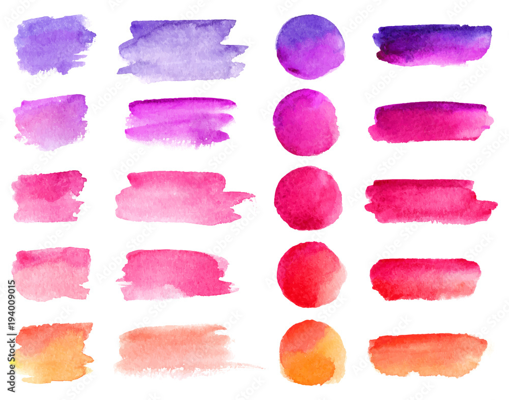 Fototapeta Colorful vector watercolor brush strokes. Rainbow colors watercolor paint stains vector banner backgrounds set