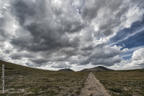 Poster Donkergrijs Scenic view of landscape against cloudy sky
