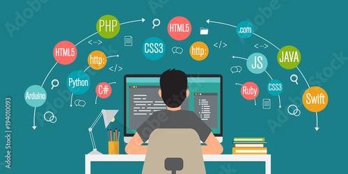 Fotografía  programming banner, coding, best programming languages