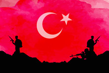 Turkish Flag With Solider Silu...