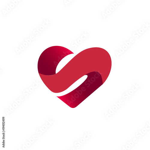 letter s in heart shape logo template buy this stock vector and