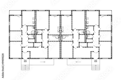 Apartment House Floor Plans Unfurnished Apartments For Your Design Vector Ground Blueprint