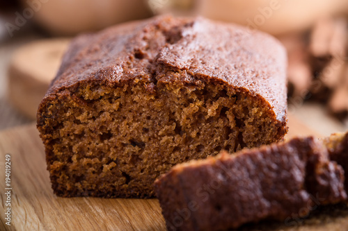 Tuinposter Brood Healthy vegan pumpkin cake with ingredients