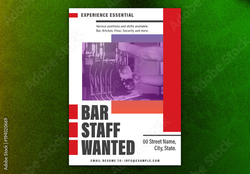 Staff Wanted Poster Layout with Red Accents 1 Buy this stock
