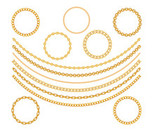 Gold Chain Jewelry On White Background. Vector Illustration