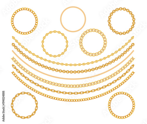 Photo Gold Chain Jewelry on White Background. Vector Illustration