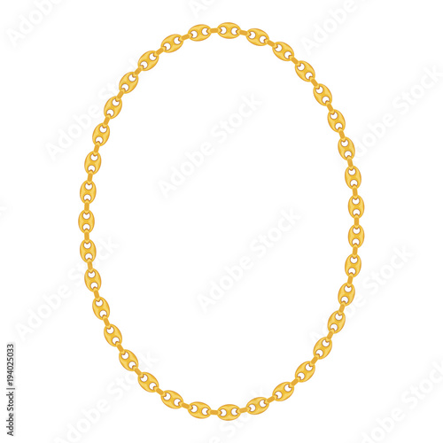 Gold Chain Jewelry on White Background. Vector Illustration Canvas Print