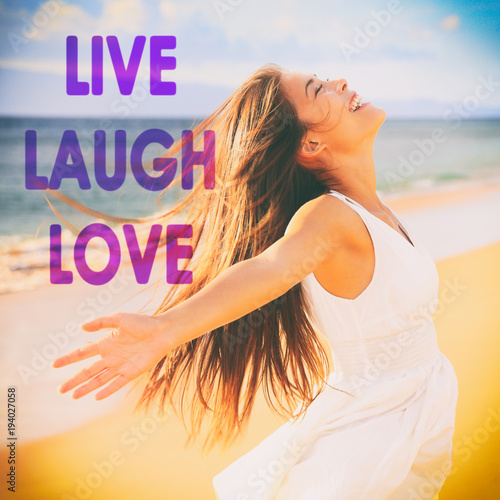 Photo  LIVE LAUGH LOVE inspirational message written on background for social media design