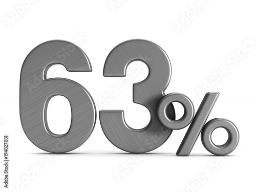 Fotografia  sixty three percent on white background. Isolated 3D illustration