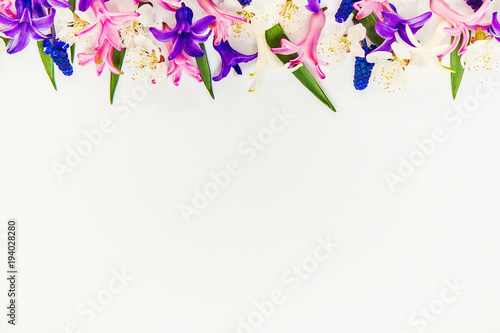 Photo Stands Floral woman Spring background, flowers. Selective focus.