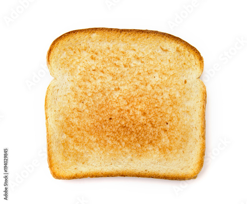 Fotografie, Obraz Slighty Golden Toast on a White Background