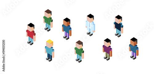 personaggi, semplice, cubo, persone, cubi