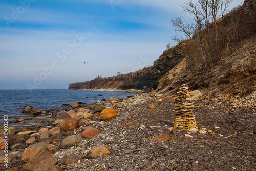 Deurstickers Kust Baltic sea, steep limestone coast (cliff). Early spring, Estonia.
