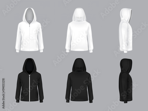 Fotografía  Vector realistic white and black hoodie with long sleeves and pockets, front, back, side view, casual unisex model, sportswear, sweatshirt with hood isolated on background