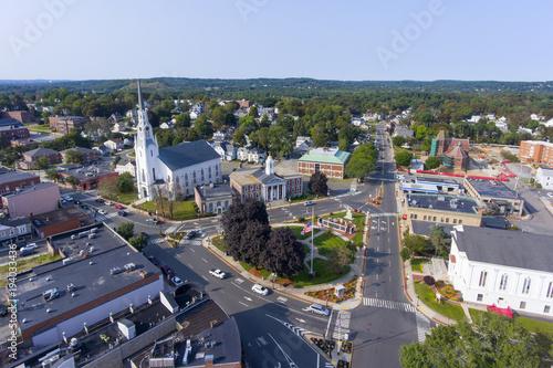 Fotografie, Obraz  Woburn First Congregational Church aerial view in downtown Woburn, Massachusetts, USA