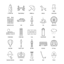 Outline England Touristic Icons Set With State Sovereignty Elements National And Cultural Traditions Symbols Isolated Vector Illustration. British Simbols And Showplaces