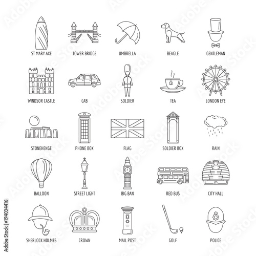 Outline England touristic icons set with state sovereignty elements national and cultural traditions symbols isolated vector illustration Wallpaper Mural