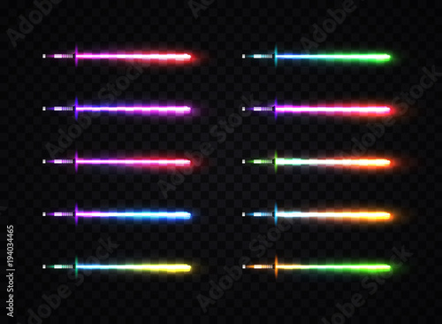 Neon light gradient swords set. Luminous weapon elements for cosmic war game design. Collection of colorful glowing sabers isolated on transparent background. Futuristic vector illustration. EPS 10