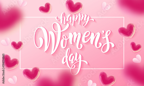 Happy Womens Day Banner With Ballon Heart On Romantic Pink