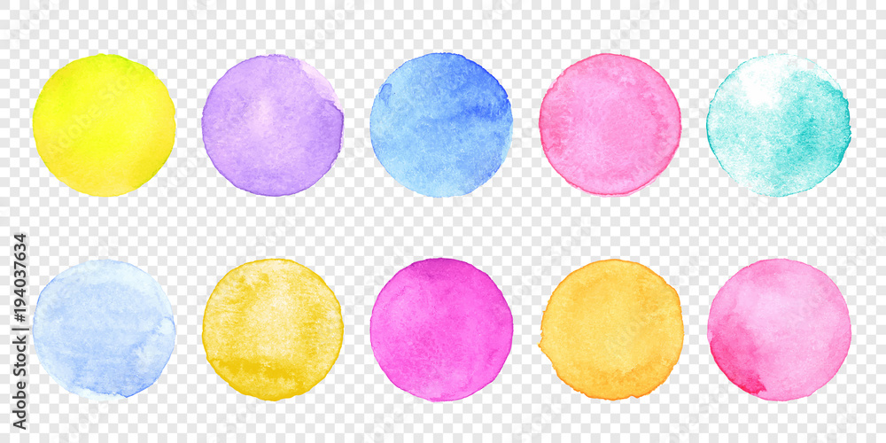 Fototapety, obrazy: Color watercolor circle set. Vector smear watercolour splash stain on transparent background. Round hand drawn watercolor background with yellow, blue, red, pink, orange, green ink color.