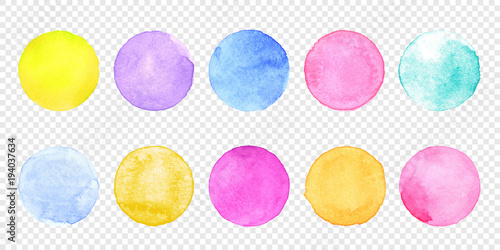 Valokuvatapetti Color watercolor circle set
