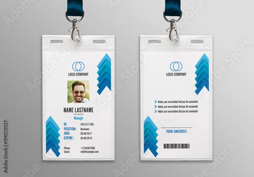 blue chevron id card layout 1 buy this stock template and explore