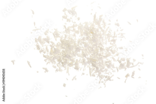 Fényképezés Heap of coconut flakes isolated on white background