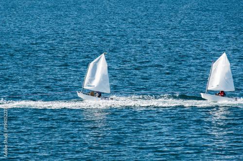 Fotografía  Optimist sailboat during a training