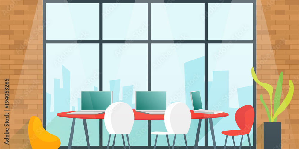 Fototapeta Office desk for team planning and working In the meeting room. Coworking space concept. Cartoon Vector illustration