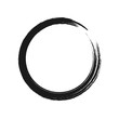 Black brush stroke in the form of a circle. Vector illustration